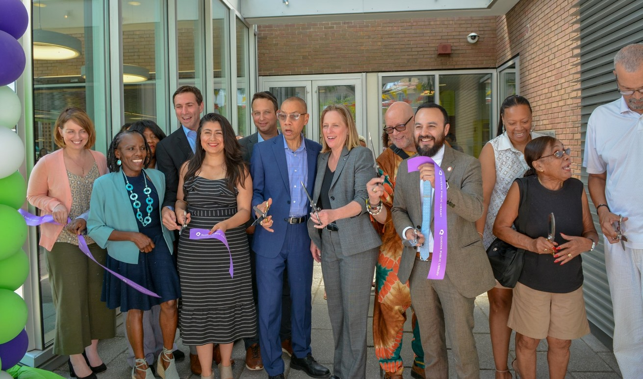 QPL President & CEO Dennis M. Walcott, elected officials, and community leaders reopen East Elmhurst Library.