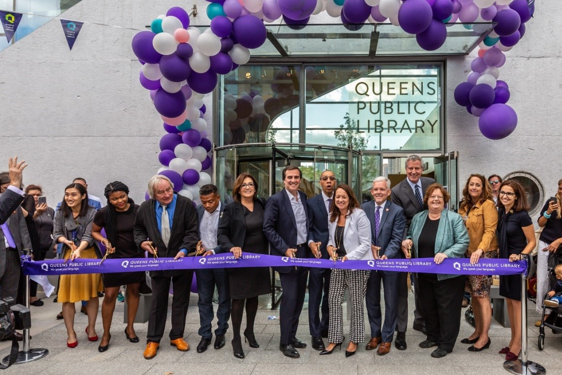 Cutting the ribbon on the new Hunters Point Library in Long Island City.