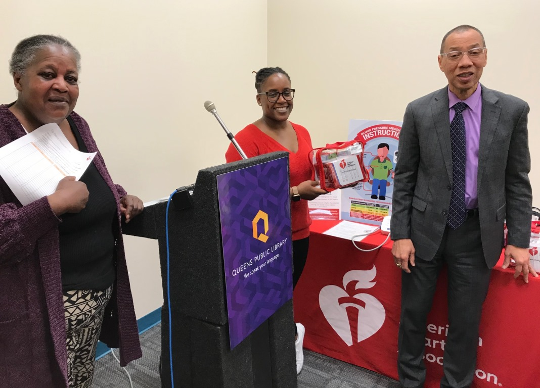 Far Rockaway Library Manager Sharon Anderson; Shanon Morris, Senior Director of Community Impact for the American Heart Association in New York City; and QPL President and CEO Dennis M. Walcott at the loaner program kickoff.